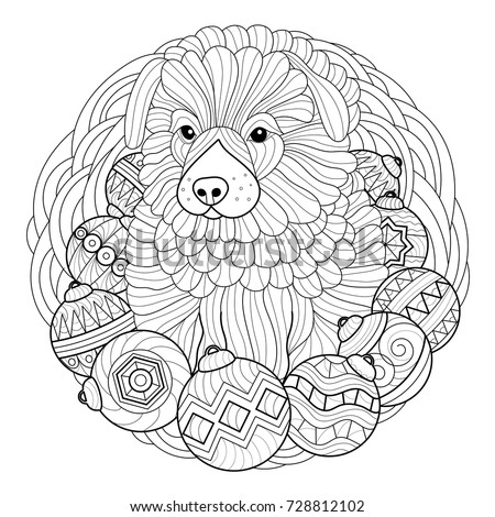 Christmas Coloring Page Stock Vector 728812102 - Shutterstock
