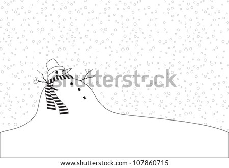 Christmas coloring picture of a snowman with a scarf