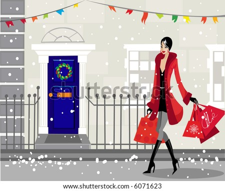 Christmas comes to town - stock vector
