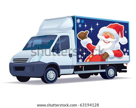 Christmas commercial vehicle - delivery truck with Santa Claus advertise. - stock vector