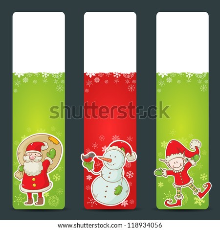 Christmas congratulation stickers with santa, elf and snowman - stock vector