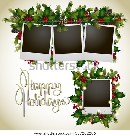 Christmas coniferous design with holly. Vector holiday card - stock vector