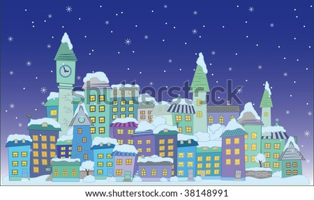 christmas construction town little city  vector series - stock vector