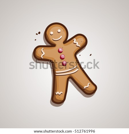 Christmas cookie. Gingerbread man. vector