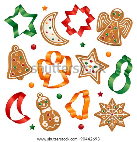 Christmas cookies and cookie cutters - stock vector