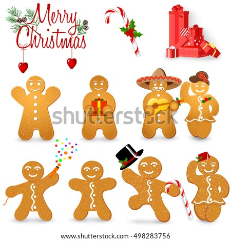 Christmas cookies in the shape of man, set