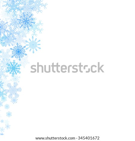 Christmas corners frame with small blue snowflakes - stock vector