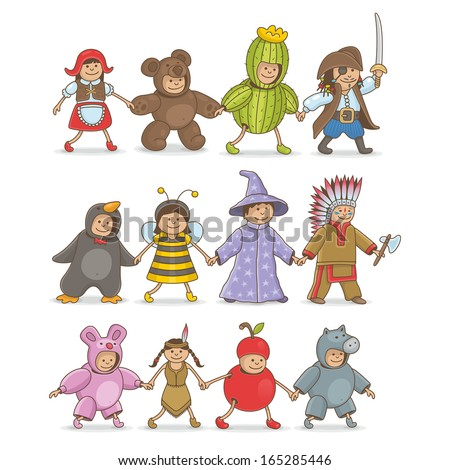 Christmas costumes kids - stock vector