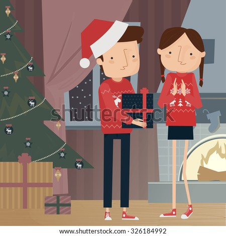 Christmas couple sharing gifts vector illustration - stock vector
