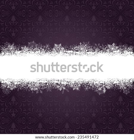 Christmas cover with white snowflakes on the purple background. Eps 10 vector file. - stock vector
