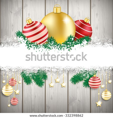 Christmas cover with white snowflakes on the wooden background. Eps 10 vector file. - stock vector