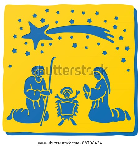 Christmas crib - stock vector