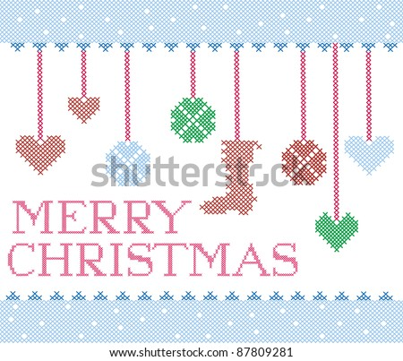 Christmas cross stitch design elements