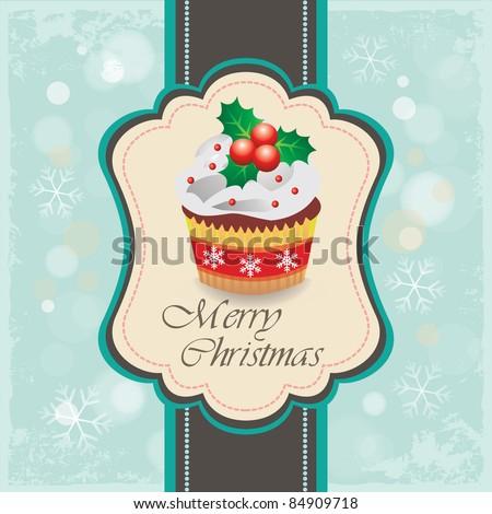 Christmas cupcake card 01 - stock vector