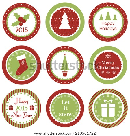Christmas cupcake toppers - stock vector