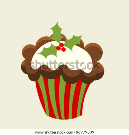Christmas cupcake with holly berry. Vector illustration