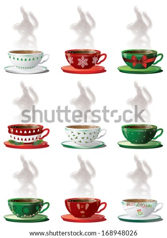 christmas cups - stock vector