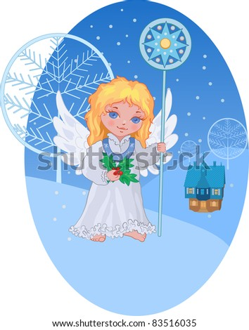 Christmas cute angel with star staff against winter landscape