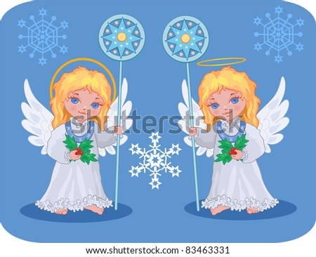 Christmas cute angels catholic, orthodox set with snowflakes - stock vector