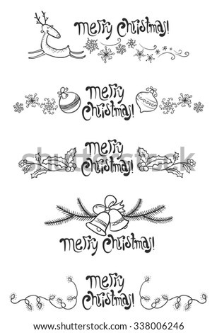Christmas cute design elements set - stock vector