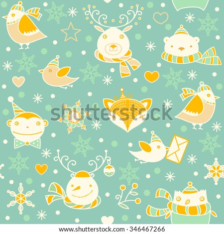 Christmas cute funny animals, monkey, birds, fox, bear, owl, snowman, snowflakes, stars on green background. Vector colorful doodle linear seamless pattern. Seasonal winter icons and logos collection. - stock vector