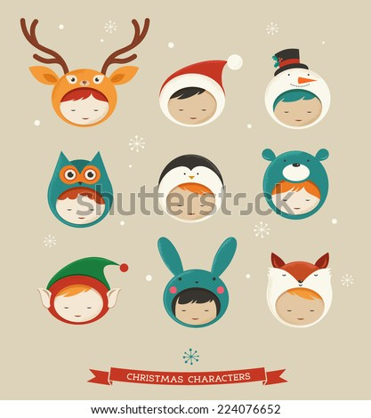 Christmas cute kids icons - deer, bear, santa, fox, bunny - stock vector