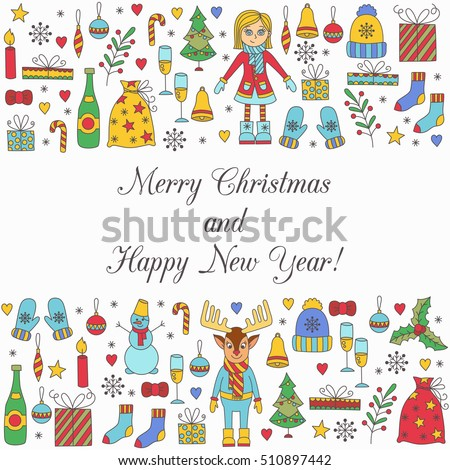 Christmas cute new year winter holidays doodles vector illustration