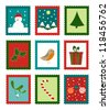 Christmas cute stamps collection - funny vector illustration - stock vector