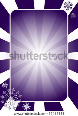 Christmas dark blue  frame with radiate rays (vector) - stock vector