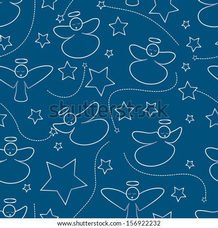 Christmas dark blue pattern angels of a star - stock vector