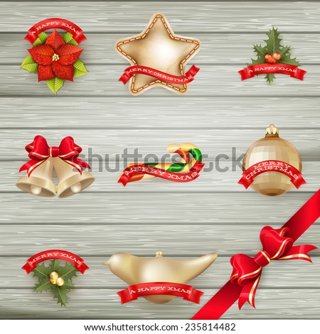 Christmas decor Objects collection. EPS 10 vector file included - stock vector