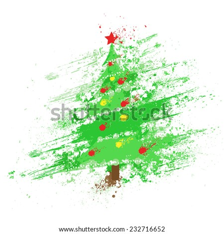 christmas decorated tree abstract ink splash paint isolated over white background holiday vector illustration - stock vector