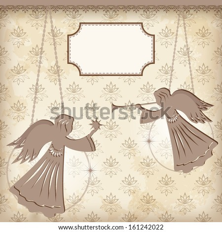 Christmas decoration. Angels. Vector illustration. - stock vector
