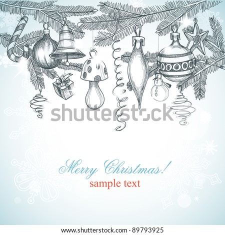 Christmas decoration background vector illustration - stock vector
