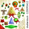 Christmas decoration collection/Christmas tree, calligraphic and typographic design elements, frames, labels. ribbons, stickers - stock vector