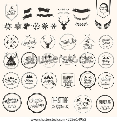 Christmas decoration collection of calligraphic and typographic design with labels. - stock vector