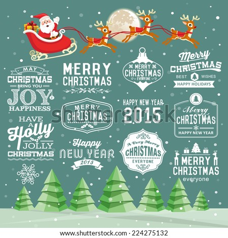 Christmas decoration collection of calligraphic and typographic design with labels, icons element - stock vector