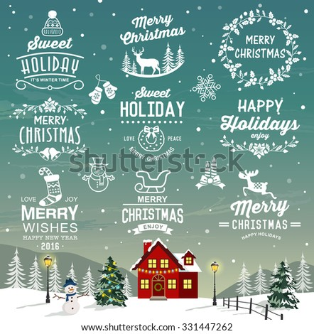 Christmas decoration collection of calligraphic and typographic design with labels, logos, icons elements. - stock vector