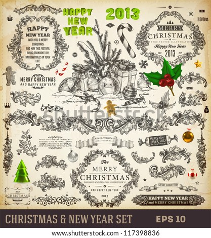 Christmas decoration collection | Set of calligraphic and typographic elements, frames, engraving vintage labels. Ribbons, sweet, hand drawn gifts, Gingerbread man and fur-tree branches with balls. - stock vector