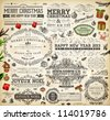 Christmas decoration collection | Set of calligraphic and typographic elements, frames, vintage labels. Ribbons, stickers, garland, hand drawn gifts, Santa and fur-tree branches with balls. Vector. - stock photo