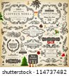 Christmas decoration collection | Set of calligraphic and typographic elements, frames, vintage labels. Candles, garland, bell, hand drawn balls and fur-tree. Vector illustrations for Xmas invitation. - stock photo