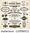 Christmas decoration collection. Set of calligraphic and typographic elements, frames, vintage labels. Deer head and snowman, fur-tree branches with balls, snowflakes and old ornaments for Xmas design - stock vector