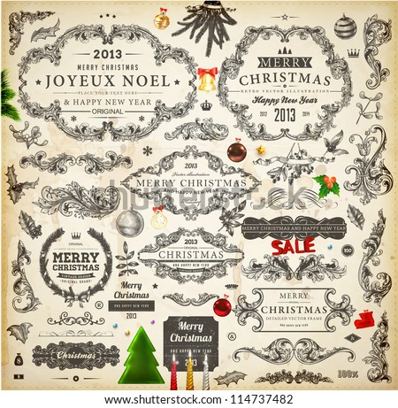 Christmas decoration collection | Set of calligraphic and typographic elements, frames, vintage labels. Candles, garland, bell, hand drawn balls and fur-tree. Vector illustrations for Xmas invitation. - stock vector