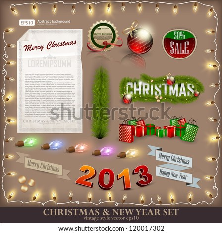 Christmas decoration collection. Set of calligraphic and typographic elements, frames, vintage labels. Ribbons, stickers, fur-tree branches with balls - all for design. - stock vector