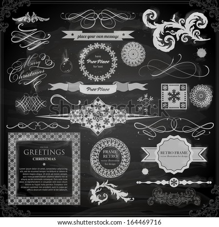 Christmas decoration collection | Set of calligraphic and typographic elements, frames, vintage labels. Ribbons, stickers, tree branches, balls. Chalkboard design. Chalk texture. - stock vector
