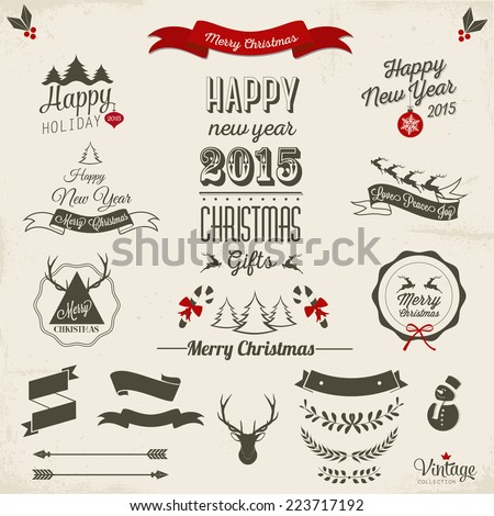 Christmas decoration collection | Set of calligraphic and typographic elements, frames, vintage labels. - stock vector