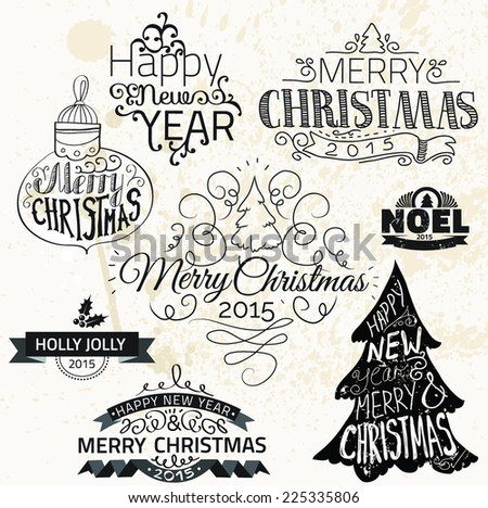 Christmas decoration collection | Set of calligraphic and typographic elements, frames, vintage labels. Ribbons, flower, balls, borders, retro ornaments and patterns. Vector. - stock vector