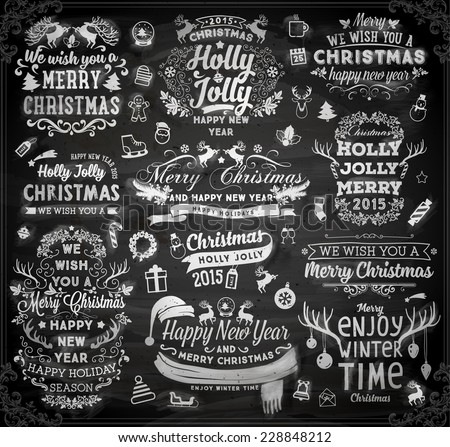 Christmas decoration collection | Set of calligraphic and typographic elements, frames, vintage label, ribbon, sticker, Santa and snowman, bird, deer antlers, balls. Chalkboard design. Chalk texture. - stock vector