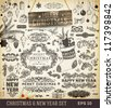Christmas decoration collection | Set of calligraphic and typographic elements, wood frame, vintage labels. Ribbons, toys, hand drawn gifts, engraving fur-tree branches with balls. New Year vector. - stock