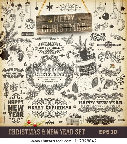 Christmas decoration collection | Set of calligraphic and typographic elements, wood frame, vintage labels. Ribbons, toys, hand drawn gifts, engraving fur-tree branches with balls. New Year vector. - stock vector